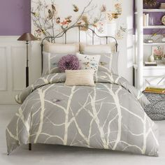 tree print bedding, lilac, purple, bedroom decor, birds
