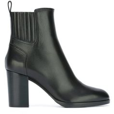 Sergio Rossi chunky heel ankle boots ($990) ❤ liked on Polyvore featuring shoes, boots, ankle booties, black, short leather boots, chunky heel booties, short boots, black leather boots and black ankle booties