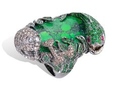 Green Stone and Diamond Ring with Eel and Skull Detail