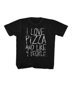 Black 'I Love Pizza' Tee - Toddler & Kids