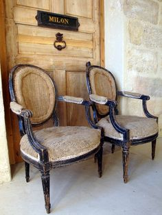 Pair French 19th c Bergeres covered in original hessian www.appleyhoare.com