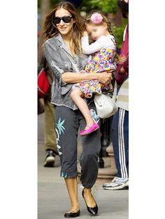 Lauren Moshi Alana Flamingo Heart Leg Cropped Pant in Black as seen on Sarah Jessica Parker