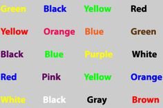 Stroop test: say the COLOR of each word, not the word itself. #psychology