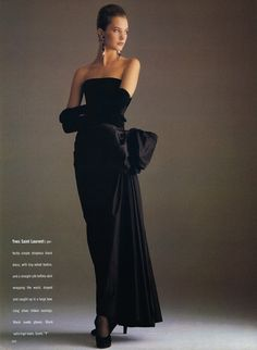 1988 - Yves Saint Laurent Couture dress in british Vogue Editorial 80s Fashion, Fashion History, Couture Fashion, Fashion Dresses, Vintage Fashion, High Fashion, Yves Saint Laurent, Saint Laurent Dress, Vogue Editorial