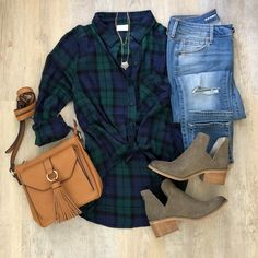 Abound plaid shirt, Old Navy rockstar jeans, Sole Society crossbody tassel bag, Steve Madden booties, BP tiered necklace Plaid Shirt Outfits, Outfit Jeans, Jean Outfits, Casual Outfits, Cute Outfits, Fashion Outfits, Fashion Skirts, Jeans Fashion, Grunge Outfits