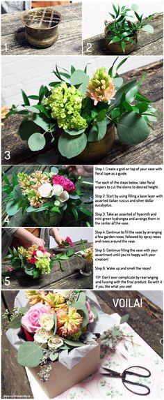 DIY {Expert Series} :: Floral Arrangement, Valentine's Day DIY floral arrangement bouquet