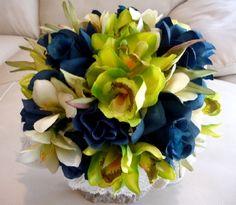 Blue And Green Wedding Centerpieces centerpieces bridal flowers silk