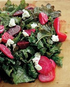 Beet and Kale Salad with Goat Cheese. Ready in less than 30 minutes! via @Martha Stewart Living #thanksgiving #healthy