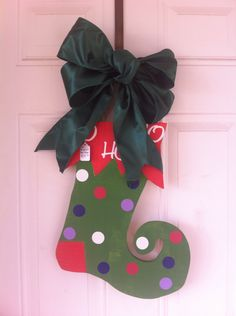 Elf shoe Personalized  With green wire bow