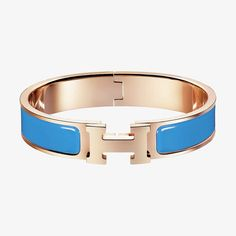 Clic H bracelet   Hermès Färg: blue ciel (metall: roseguld)