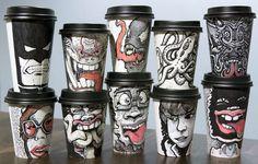 Рисунки на одноразовых стаканчиках от Мигеля Кардона (Miguel Cardona)