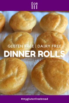 These delicious gluten free, dairy free, and gum free dinner rolls are tender, high rising and have no xanthan gum or guar gum! These are warm, fresh from the oven roll that melt in your mouth Gluten Free Quick Bread, Gluten Free Rolls, Wheat Free Bread, Gluten Free Cooking, Gluten Free Recipes, Gf Recipes, Bread Recipes, Gf Bread Recipe, Breads