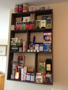 possible tea shelf - maybe make the squares smaller for the small apt