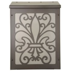Vertical Bronze and Nickel Fleur Di Lis Wall Mount Mailbox