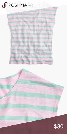 J. Crew Linen Tee SHIPS Feb 28th due to mini vacay ❤️ Linen Tee in mint and pink stripes, cropped sleeves and front pocket. NWT, Size Medium by #jcrew #pink #mint #stripes #tee J. Crew Tops Tees - Short Sleeve