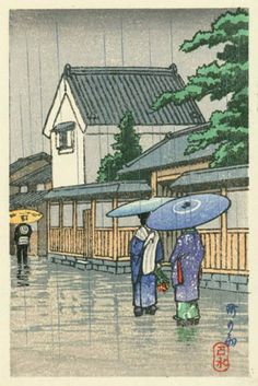 hanga gallery . . . torii gallery: City in the rain by Kawase Hasui