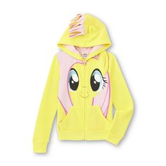 It's one thing to want a pony, but it's an entirely different thing to be a pony. This My Little Pony girl's hoodie jacket from Hasbro lets her see life through her favorite pony pal's eyes. The front of this zipper-front jacket features a glittery image of Flutteryshy's face. When the knit-lined hood is pulled on, a colorful mane is revealed, making this hoodie warm and totally fun to wear.