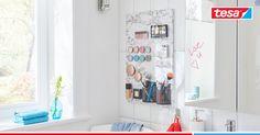 Mai più alla ricerca di un cosmetico! Con questo intelligente organizer magnetico per il trucco sai a colpo d'occhio dove sono tutti i cosmetici. È semplice da realizzare e non è necessario alcun attrezzo. Clack, clack, clack. Ecco fatto: mascara, ombretti, cipria e pennelli appesi all'organizer magnetico per il make up. #makeup #beauty #tesa