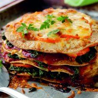 Spinach, Cheddar & tomato pancake lasagne