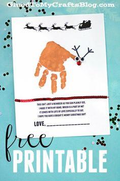 Free Handprint Holiday Poem Printable - Reindeer