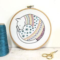 Hawthorn Handmade have just released three new embroidery kits and we have them all in stock now. Choose from a puffin, alpaca or this cozy cat. The designs are printed onto fabric for you so there's no transferring to do, just lots of stitching fun! Fab for beginners.  #embroiderykit #needlecraft #needlework #catsofinstagram #catkit