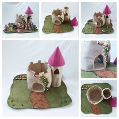 Pink Castle Turret Playscape Play Mat Felt by MyBigWorld2015