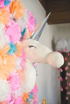 Piñatas~unicorn Piñata via Kara's Party Ideas KarasPartyIdeas.com #unicornparty #unicorns #unicornsandraindrops #unicornsandrainbows #unicornbabyshower #girlbabyshower #unicornpartyideas #karaspartyideas (25)