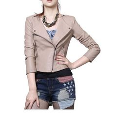 2012 Fall and Winter New Arrivals Khaki Locomotive Short Style Leather Jacket,Wendybox Faux Leather Jackets, Fashion Outfits, Locomotive, Clothes, Fall, Winter, Style, Life, Outfits