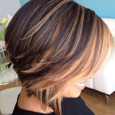 short brunette bob with light caramel balayage