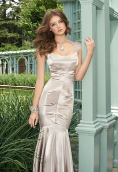 Stretch Satin Long Dress with Open Lace Back from Camille La Vie and Group USA