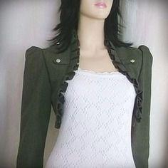 Boléro coton/polyester vert kaki toutes tailles