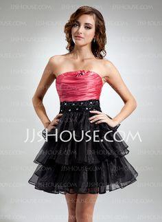 Orange bodice, black skirt for Halloween...A-Line/Princess Strapless Short/Mini Organza Satin Cocktail Dress With Ruffle Beading (016016369)