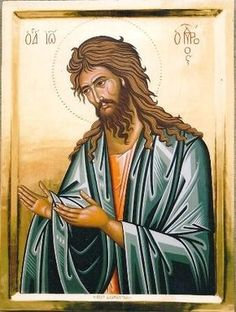 Greek Orthodox icon of Saint John the forerunner . Byzantine Icons, Byzantine Art, Orthodox Catholic, Christian Mysticism, Saint Jean Baptiste, Symbolic Art, Spiritual Paintings, Images Of Christ, Paint Icon
