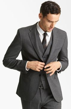 charcoal wedding suits | Mens Charcoal Grey Suit 3 Piece Slim Fit ...