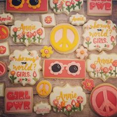 Hippie Chick GIrl power baby shower - large - Hayley Cakes and Cookies Hippie Birthday Party, Hippie Party, Girl First Birthday, Third Birthday, Baby Birthday, First Birthday Parties, First Birthdays, Birthday Ideas, Flower Power Party