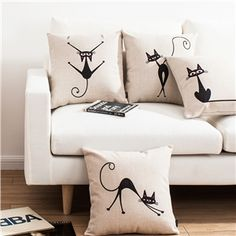 Modern Simple Elves Cat Sofa Office Linen Pillow Cover