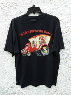 Vintage ALS Pizza A Slice Above The Rest Shirt Large Black by Fchoicevintage on Etsy Katie Roberts, College Shirts, Miss America, Vintage Men, Vintage Clothing, Movie T Shirts, Large Black, Pizza, Graphic Sweatshirt