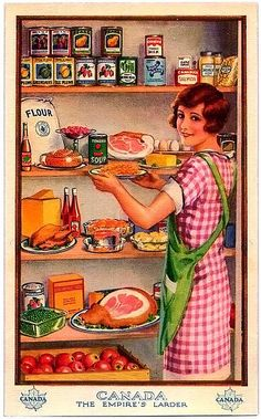 The Empire's Larder    vintage postcard ..... stock up!