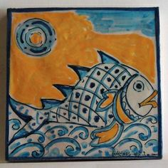 Fish tile, hand painted by Vincenzo Scardino, Messina, Italy