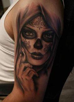 Day Of The Dead Tattoo Designs, Day Of Dead Tattoo, Family Tattoo Designs, Tattoo Designs Men, La Muerte Tattoo, Catrina Tattoo, Skull Girl Tattoo, Sugar Skull Tattoos, Sugar Tattoo