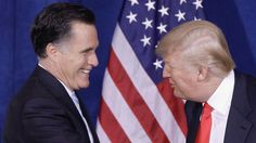 Happier times. In this 2012 file photo Donald Trump greets then-Republican presidential candidate Mitt Romney, after announcing his endorsement of Romney. (AAP)