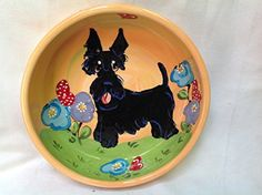 Scottish Terrier 8 Dog Bowl for Food or Water Personalized at no Charge Signed by Artist Debby Carman >>> Details can be found by clicking on the image.