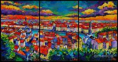 Lyon Panorama Triptych Painting