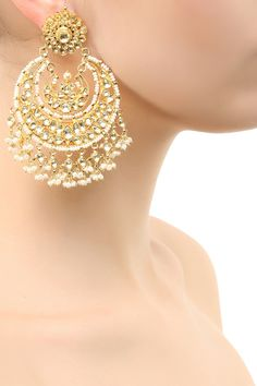 Amrapali presents Gold finish glass stone and pearl oversized chandbali earrings available only at Pernia's Pop Up Shop.