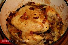Deep South Dish: Pot Roasted Chicken - Chicken in a Pot with Bacon, Onion and Potatoes