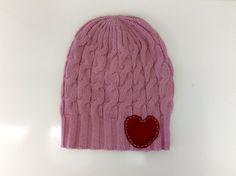 Pink Lambswool Heart Beanie