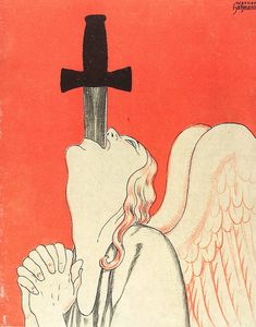 "danskjavlarna: ""The peace angel is a sword swallower. From Kladderadatsch, 1921. My Strange & Unusual Site | Books | Videos | Music | Etsy "" Art Inspo, Kunst Inspo, Art And Illustration, Bel Art, Sword Swallower, Arte Sketchbook, Pics Art, Horror Art, Pretty Art"
