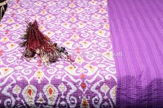Ikat Kantha Quilt indian Queen size Kantha by jaipurihandicraft