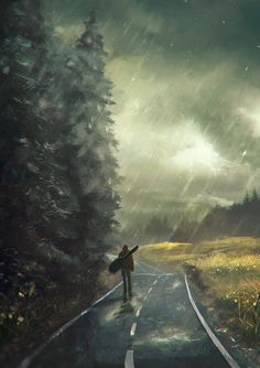 The Art Of Animation, - art I love this - reminds me of my wandering wayfarer print from the Fantasy Landscape, Fantasy Art, Anime Scenery, Digital Illustration, Rain Illustration, Travel Illustration, Amazing Art, Cool Art, Concept Art