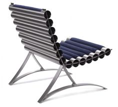 This modern chair has a cool design, made of a stainless steel frame and cylinders, designed by Objekt Incorporated. The frame and cylinders are simply fitted Simple Furniture, Metal Furniture, Diy Furniture, Furniture Design, Coffee Shop Furniture, Modern Chairs, Chair Design, Vintage Industrial, Stainless Steel